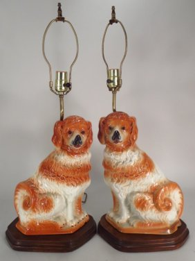 Pair Of Staffordshire Dogs Mounted As Lamps