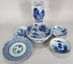 Six Pieces Of Asian Blue And White Porcelain