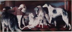 Group Of Six Long-haired Whippets, 20th C.