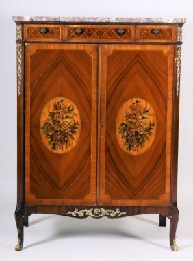 Neoclassical Style Marble Top Chest