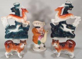 5 Pcs Of Staffordshire Pottery, English, 19/20th C