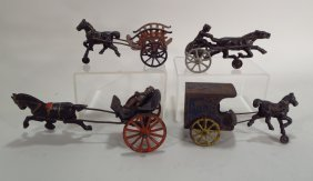 Four Horse Drawn Toys, Cast Iron & Pressed Steel