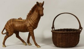 Swing Handled Basket, 19th C.; & Chinese Basket