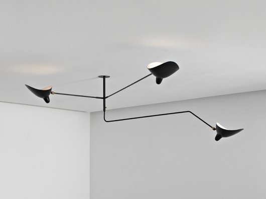 79 serge mouille unique three arm ceiling lamp c 19 lot 79. Black Bedroom Furniture Sets. Home Design Ideas