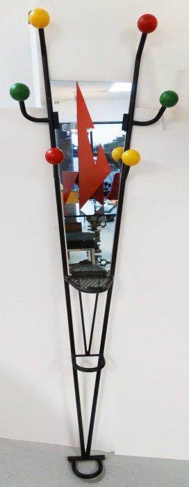 Memphis Post Modern Iron Hall Stand W/ Mirror Coat Rack