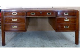 Mid-century Campaign Style Wood Desk