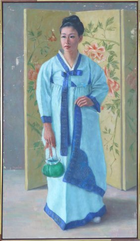 Large Midcentury Painting Of An Asian Woman Henry Mauer