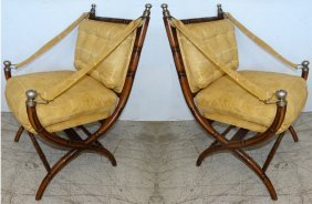 Pair Of Faux-bamboo Wood Campaign Chairs