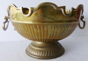 Scalloped Brass Centerpiece Bowl W/ Handles