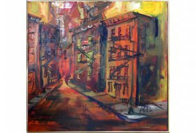 Mid-century Modern Abstract Oil Painting Industrial