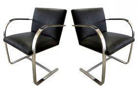 Chrome Flat-bar Brno Chairs, Pair