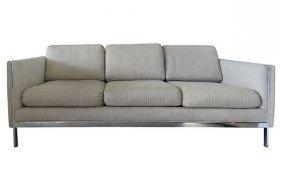 Milo Baughman-style Sofa W/ Chrome