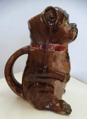 Majolica Dog Animal Pitcher