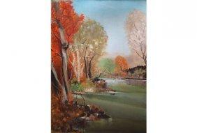 Mid-century Abstract Autumn Oil Painting