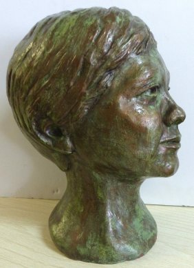 19th-c. Bust Of A Young Man Signed V. Motch