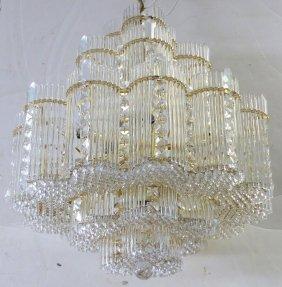 Dense Crystal & Brass Chandelier