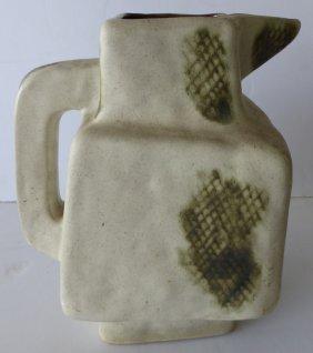 Hand-built Mid-century Modern Stoneware Pottery Pitcher