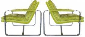Milo Baughman Attributed Velvet Chrome Chairs- Pair