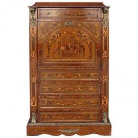 Antique Style Marquetry Secretary