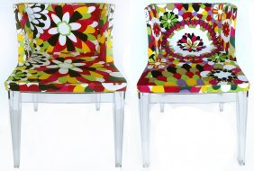Floral Upholstered Am Chairs On Acrylic Frames, Pair