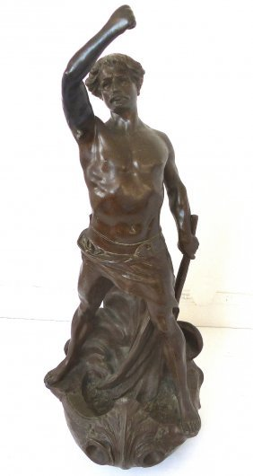 Large Antique French Bronzed White Metal Sculpture