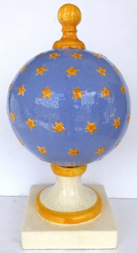 Large Italian Ceramic Finial With Stars