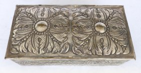 South American Silver On Bronze Repousse Box