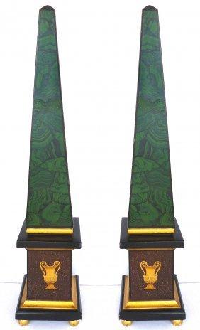 Classical Style Faux- Painted Malachite Obelisks - Pair