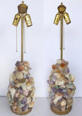 Rock Crystal Table Lamps- Pair