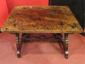 19th Century Spanish Colonial Trestel Table W/ Iron