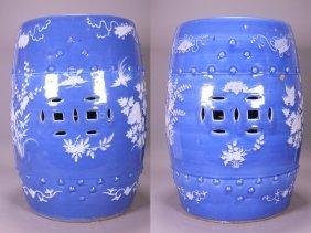19th Century, Pr Of Porcelain Blue Glazed Garden Stood