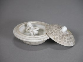 19th C, White Porcelain Cover Box With Nude Lady Figure