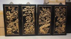 Vintage Set Of 4 Gold Gilt Wood Carvings