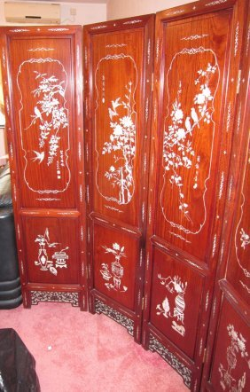Vintage (hualimu) Rosewood Screen With Mother Of Pearl