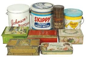 Country Store Tins (9), Popcorn, Peanut Butter, Wafer &