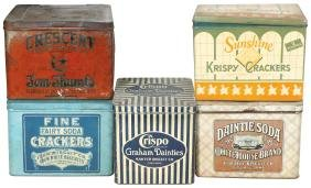 Country Store Cracker & Biscuit Tins (5), Whitehouse,
