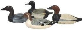Duck Decoys (4), Carved Wood W/glass Eyes, Unmarked,