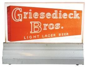 Breweriana Sign, Griesedieck Bros. Beer, Plastic