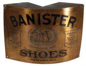 Banister Shoes Corner Sign, Newark, NJ, Embossed