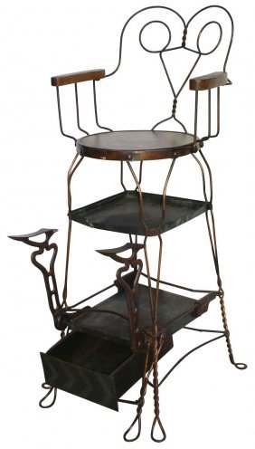 Shoe Shine Chair, Twisted Metal Frame W/wood Seat