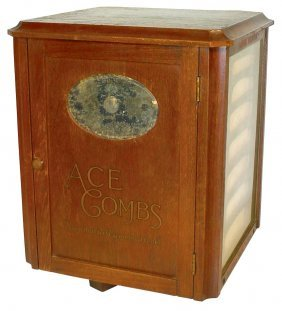 Ace Comb Counter Display, Revolving Wood Case W/d