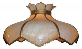 Hanging Lamp, Stained Glass Shade W/8 Curved Glas