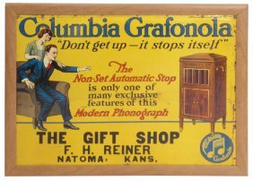 Columbia Grafonola Litho On Tin Sign, Good Cond W