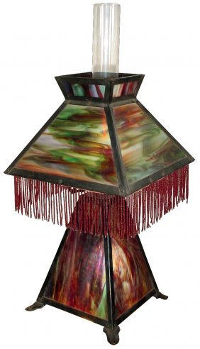 Lamp, Table, Stained Glass, Matching Fringed Shad