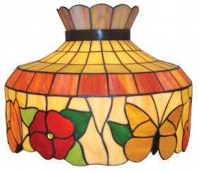 Hanging Lamp, Stained Glass, Colorful Shade W/but