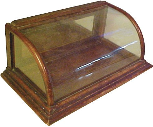 813 Curved Glass Countertop Gum Display Case Oak W Or