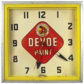 Devoe Paint Neon Clock, Mfgd By Lackner, Square Met