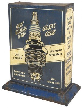 Blue Crown Spark Plug Display Cabinet, Litho On Met