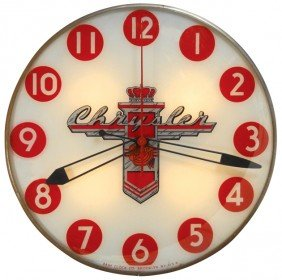 Chrysler Light-up Clock, Large Size, Mfgd By Pam Cl