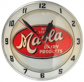 Maola Dairy Products Double-bubble Light-up Clock,